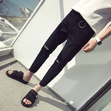 Load image into Gallery viewer, Korean Boys'Fashion Jeans Men's Slim, Small Feet, Nine Hundreds of Fall and Winter Men's Trousers Black Hole Jeans