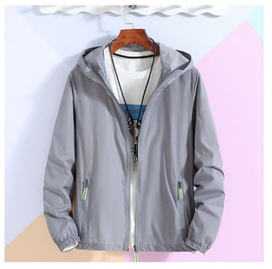 Oversized 6XL 7XL Reflective Zipper Hooded Jackets Men Ultra-light Thin Summer Windbreaker Packable Skin Coat Sunscreen Jacket