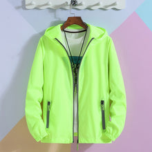 Load image into Gallery viewer, Oversized 6XL 7XL Reflective Zipper Hooded Jackets Men Ultra-light Thin Summer Windbreaker Packable Skin Coat Sunscreen Jacket