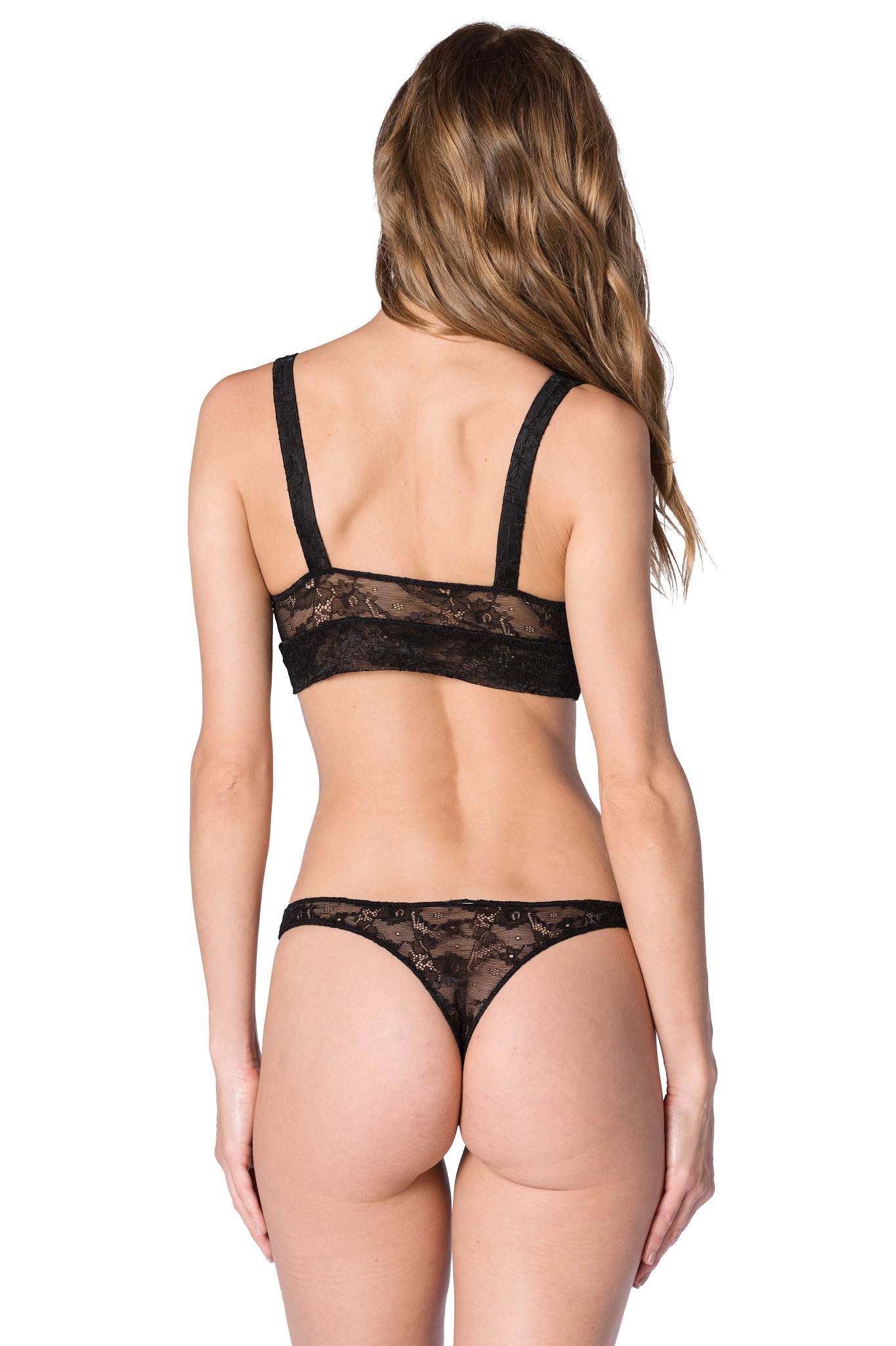 Lace Thong: Black