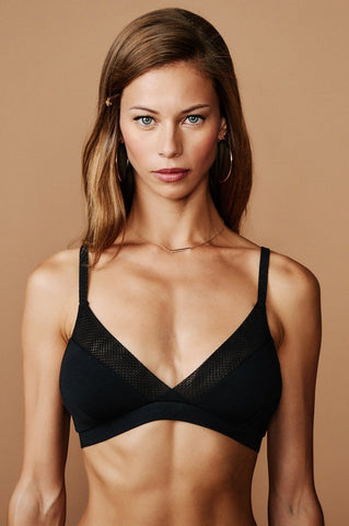 Manhattan Nights Silk Bralette: Black
