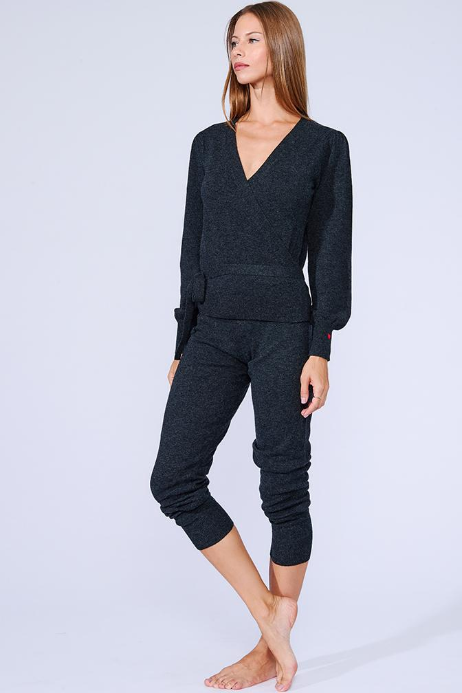 Weekend Cashmere Wrap Top: Charcoal