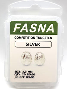 Fasna Competition Tungsten Silver Beads 3.3mm