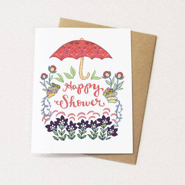 Flower Shower Card - new baby card or wedding shower