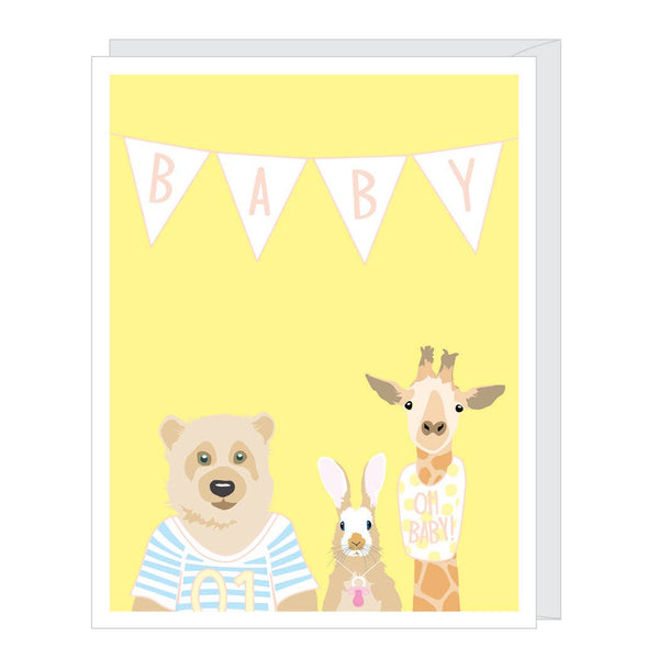 Baby Animals Greeted New Baby Card