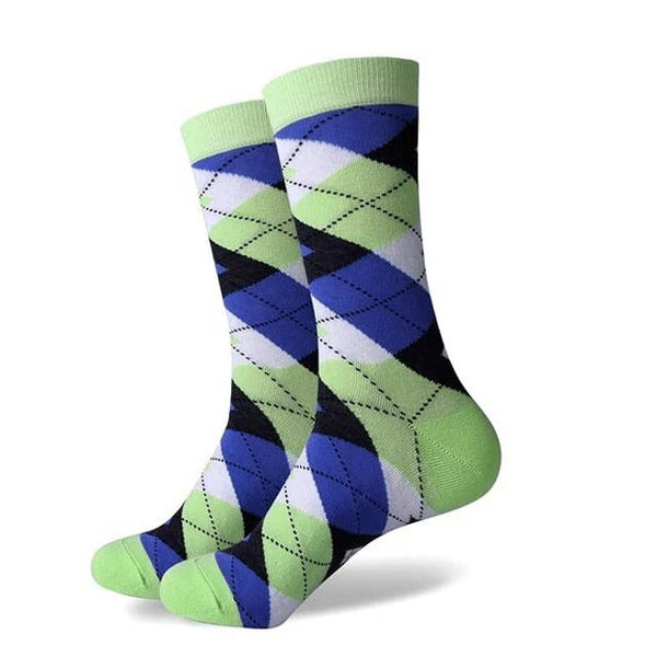 Exquisite Green and Blue Argyle Socks
