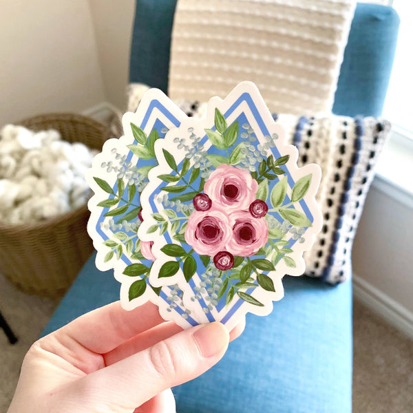 Pink Roses Floral Bouquet Sticker