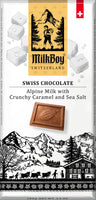 The Swiss alpine meadows produces some of the best-quality milk available, milk for which Switzerland is rightly famed. This, combined with finest-quality cocoa beans from some of the world's best and sustainable sources, is what makes MilkBoy Alpine Milk chocolate with crunchy Caramel and Sea Salt chocolate so exceptional.