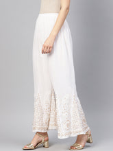 Load image into Gallery viewer, Saadgi Hand Embroidered Gotta Patti Chikankari Sharara With Lining-SDGSHGT02WHT