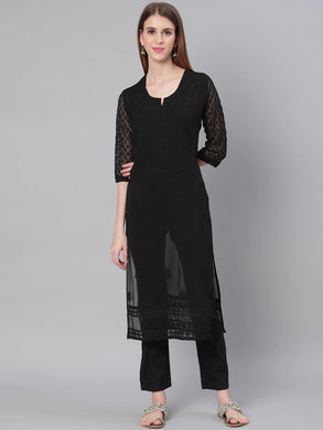 Saadgi Hand Embroidered Black Lucknowi Chikankari Kurta with Chikankari Pants-SET005BLK