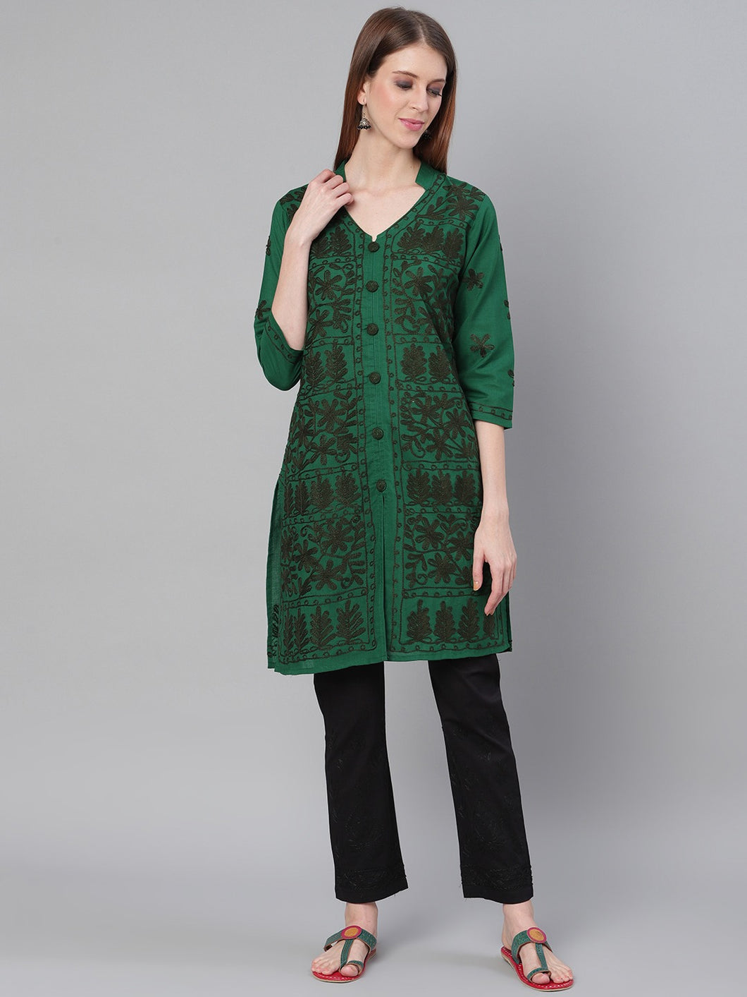 Saadgi Aari Embroidered Bottel Green Lucknowi Chikan Kurta with Chikankari Pants-SET502DGR