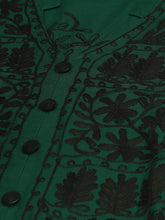 Load image into Gallery viewer, Saadgi Aari Embroidered Bottel Green Lucknowi Chikan Kurta with Chikankari Pants-SET502DGR