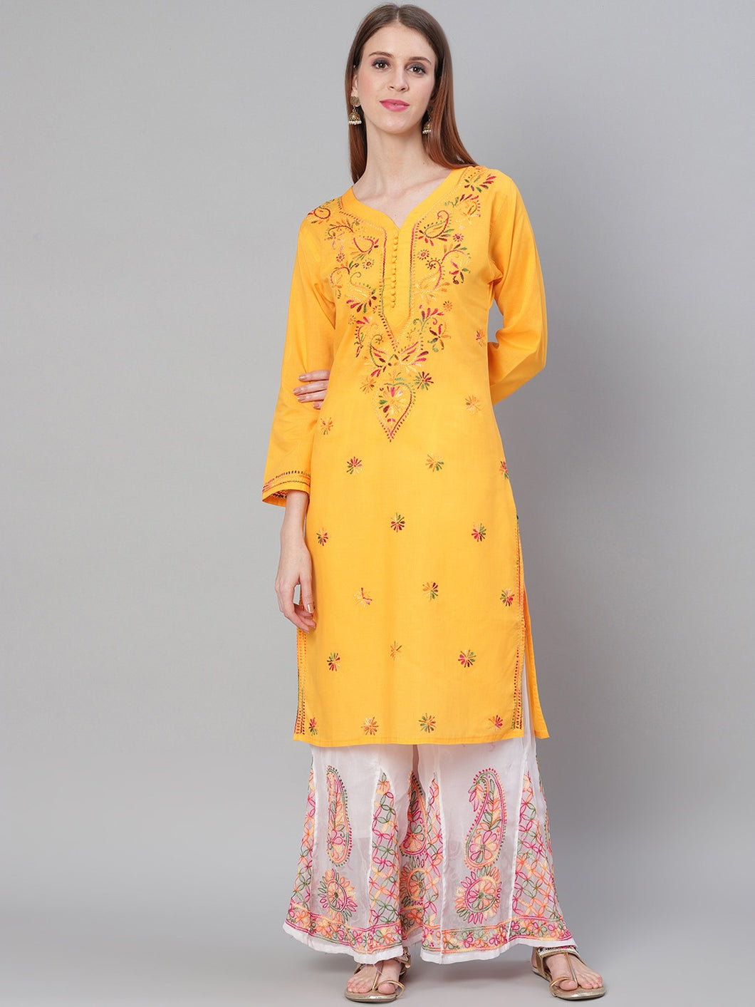 Saadgi Hand Embroidered Yellow Lucknowi Chikankari Kurta with Chikankari Pants-SET701MUS