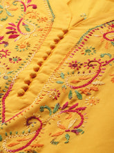 Load image into Gallery viewer, Saadgi Hand Embroidered Yellow Lucknowi Chikankari Kurta with Chikankari Pants-SET701MUS