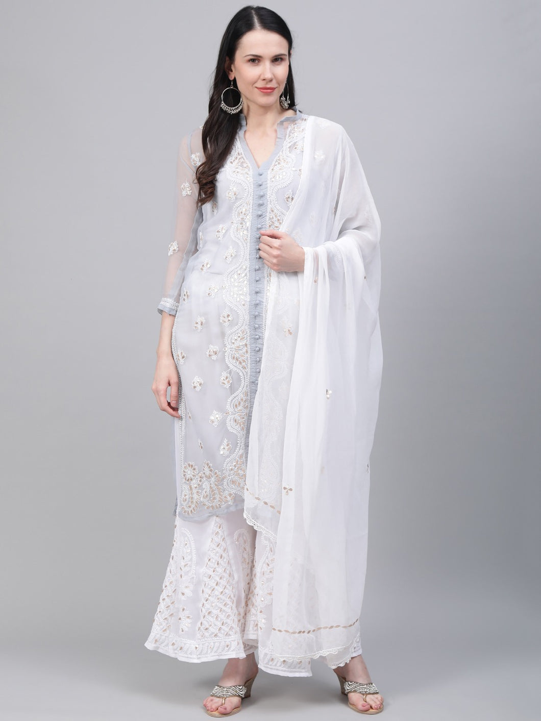 Saadgi Hand Embroidered with Gotta Patti Grey Lucknowi Chikankari Kurta with Sharara & Dupatta-SETD55GRY