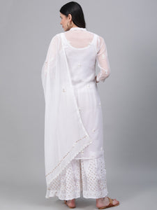 Saadgi Hand Embroidered with Gotta Patti White Lucknowi Chikankari Kurta with Sharara & Dupatta-SETD55WHT