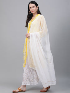 Saadgi Yellow Chikankari Embroidered Kurta with Sharara