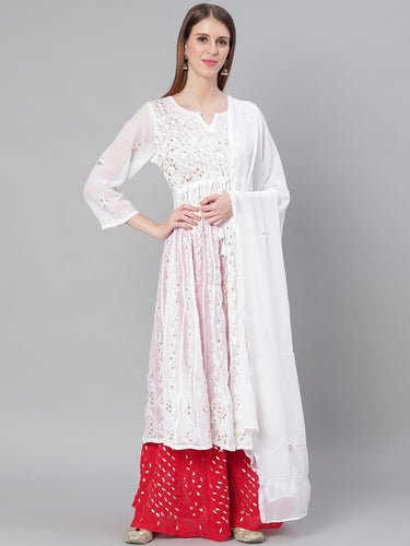 Chikankari Gotta patti Anarakali with dupatta and sharara
