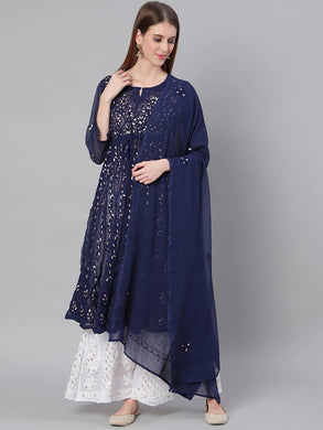 Saadgi Aari Embroidered with Gotta Patti Navy Lucknowi Chikan Anarkali Kurta with Sharara & Dupatta-SETD65NAV