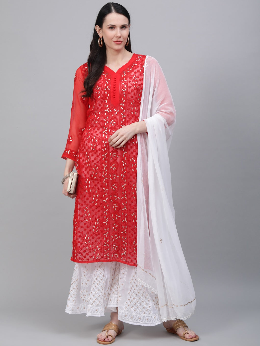 Saadgi Hand Embroidered with Gotta Patti Red Lucknowi Chikankari Kurta with Sharara & Dupatta-SETJ65RED