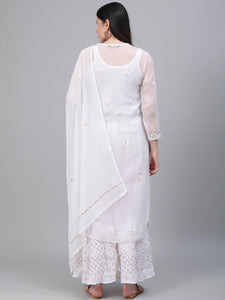 Saadgi Hand Embroidered with Gotta Patti White Lucknowi Chikankari Kurta with Sharara & Dupatta-SETJ65WHT