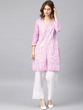 Load image into Gallery viewer, Saadgi Aari Embroidered Purple Lucknowi Chikan Kurta-SI502MOU