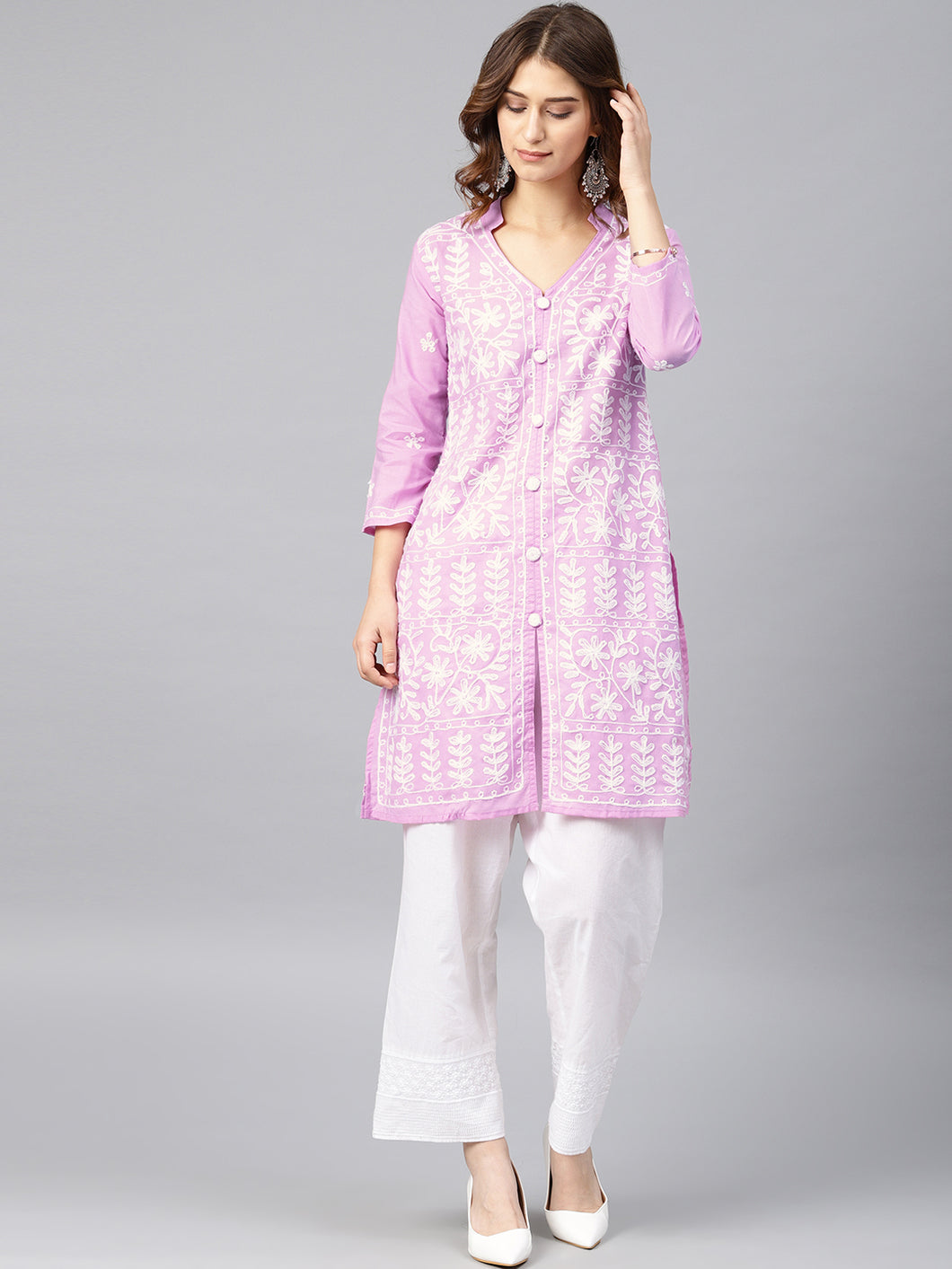Saadgi Aari Embroidered Purple Lucknowi Chikan Kurta-SI502MOU