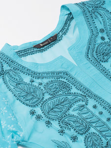 Saadgi Hand Embroidered Blue Lucknowi Chikankari Kurta-SIF005TEA