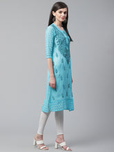 Load image into Gallery viewer, Saadgi Hand Embroidered Blue Lucknowi Chikankari Kurta-SIF005TEA