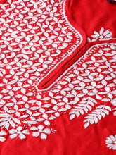 Load image into Gallery viewer, Saadgi Hand Embroidered Red Lucknowi Chikankari Kurta-SIF01RHRED