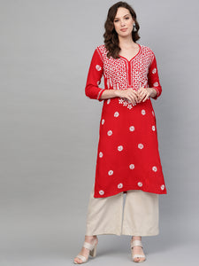 Saadgi Hand Embroidered Red Lucknowi Chikankari Kurta-SIF01RHRED