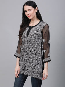 Saadgi Hand Embroidered  Black Lucknowi Chikankari Short Kurti-SIF35BLK