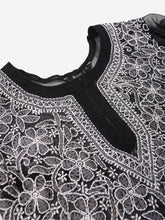 Load image into Gallery viewer, Saadgi Hand Embroidered  Black Lucknowi Chikankari Short Kurti-SIF35BLK