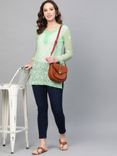 Load image into Gallery viewer, Saadgi Hand EmbroideredSea Green Lucknowi Chikankari Short Kurti-SIF35GCSGN