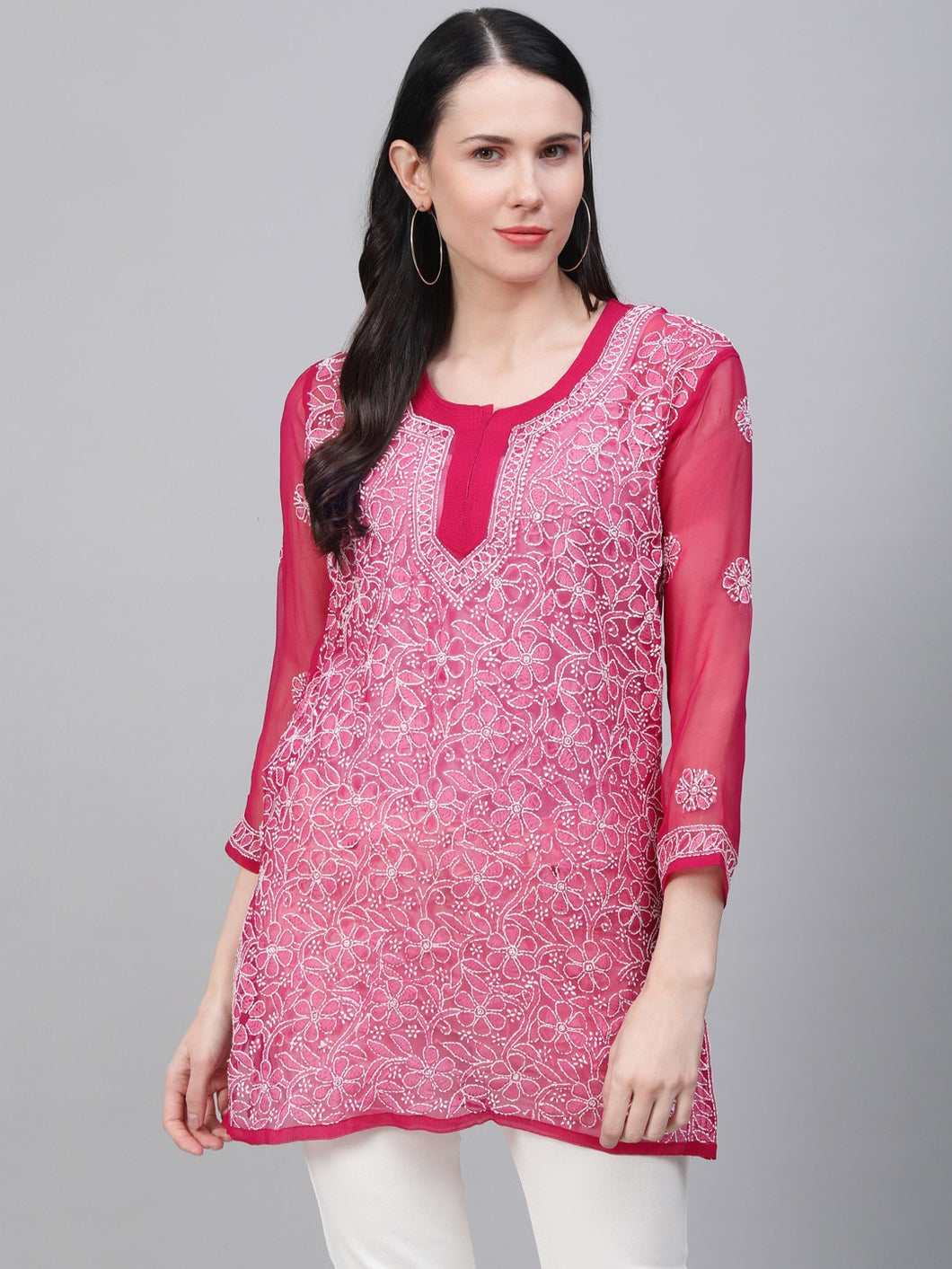 Saadgi Hand Embroidered  Phalsa Lucknowi Chikankari Short Kurti-SIF35PH