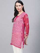 Load image into Gallery viewer, Saadgi Hand Embroidered  Phalsa Lucknowi Chikankari Short Kurti-SIF35PH