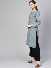 Load image into Gallery viewer, Saadgi Aari Embroidered Grey Lucknowi Chikan Kurta-SIFA25GRY