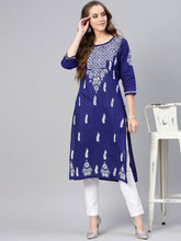 Load image into Gallery viewer, Saadgi Hand Embroidered Blue Lucknowi Chikankari Kurta-SIFC071RBL