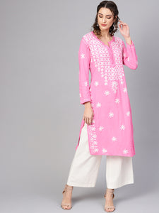 Saadgi Lucknowi Chikan Aari Kurta for Women