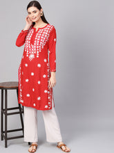 Load image into Gallery viewer, Saadgi Aari Embroidered Red Lucknowi Chikan Kurta-SIFC30RED