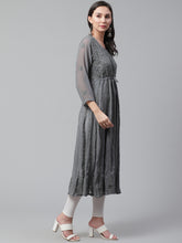 Load image into Gallery viewer, Saadgi Aari Embroidered Charcoal Grey Lucknowi Chikan Anarkali Kurta with Dupatta-SIFD65GRY