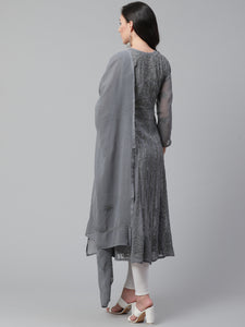 Saadgi Aari Embroidered Charcoal Grey Lucknowi Chikan Anarkali Kurta with Dupatta-SIFD65GRY