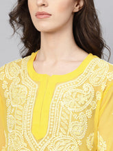 Load image into Gallery viewer, Saadgi Hand Embroidered Yellow Lucknowi Chikankari Kurta-SIFG009MUS