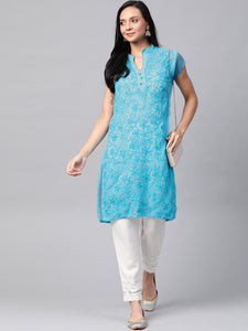 Saadgi Aari Embroidered with Hand Crochet work Pink Lucknowi Chikan Kurti-SIFGCRSKY
