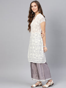 Saadgi Aari Embroidered with Hand Crochet workWhite Lucknowi Chikan Kurti-SIFGCRWHT
