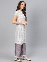 Load image into Gallery viewer, Saadgi Aari Embroidered with Hand Crochet workWhite Lucknowi Chikan Kurti-SIFGCRWHT