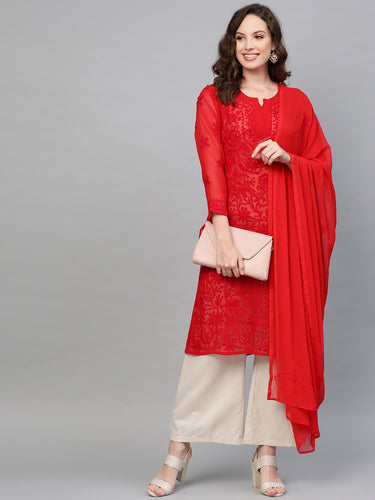Saadgi Aari Embroidered with Hand Sequin Work Red Lucknowi Chikan Kurti with Dupatta-SIFGESRED