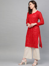 Load image into Gallery viewer, Saadgi Lucknowi Chikan Aari Crochet Sequence Kurta