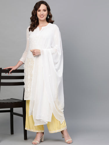 Saadgi Aari Embroidered with Hand Sequin Work White Lucknowi Chikan Kurti with Dupatta-SIFGESWHT