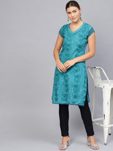 Load image into Gallery viewer, Saadgi Aari Embroidered Crochet Sleeve Kurta